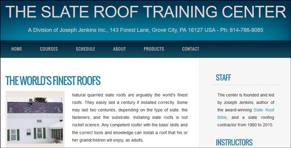 The Slate Roof Training Center - a Division of Joseph Jenkins Inc.